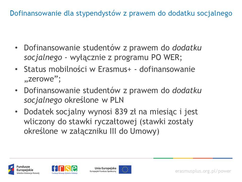 erasmusplus.org.pl/power Dofinansowanie dla stypendystów z prawem do dodatku socjalnego Dofinansowanie studentów z prawem do dodatku socjalnego - wyłą