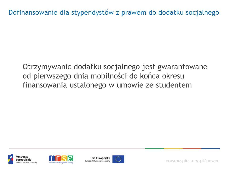 erasmusplus.org.pl/power Dofinansowanie dla stypendystów z prawem do dodatku socjalnego Otrzymywanie dodatku socjalnego jest gwarantowane od pierwszeg