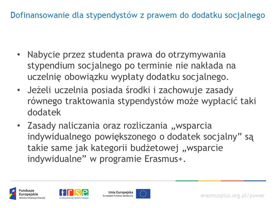 erasmusplus.org.pl/power Dofinansowanie dla stypendystów z prawem do dodatku socjalnego Nabycie przez studenta prawa do otrzymywania stypendium socjal