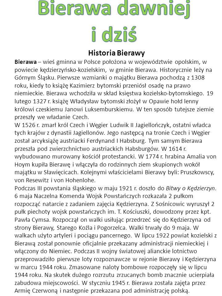 Historia Bierawy Bierawa – wieś gminna w Polsce położona w województwie opolskim, w powiecie kędzierzyńsko-kozielskim, w gminie Bierawa.