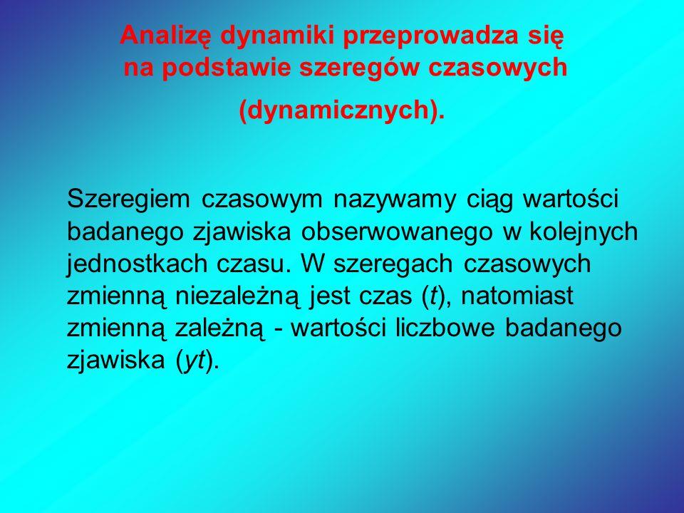 Analizę dynamiki przeprowadza się na podstawie szeregów czasowych (dynamicznych). Szeregiem czasowym nazywamy ciąg wartości badanego zjawiska obserwow