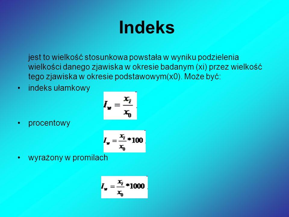 Indeks jest to wielkość stosunkowa powstała w wyniku podzielenia wielkości danego zjawiska w okresie badanym (xi) przez wielkość tego zjawiska w okresie podstawowym(x0).