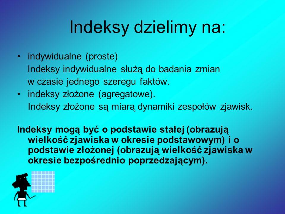 Indeksy dzielimy na: indywidualne (proste) Indeksy indywidualne służą do badania zmian w czasie jednego szeregu faktów.