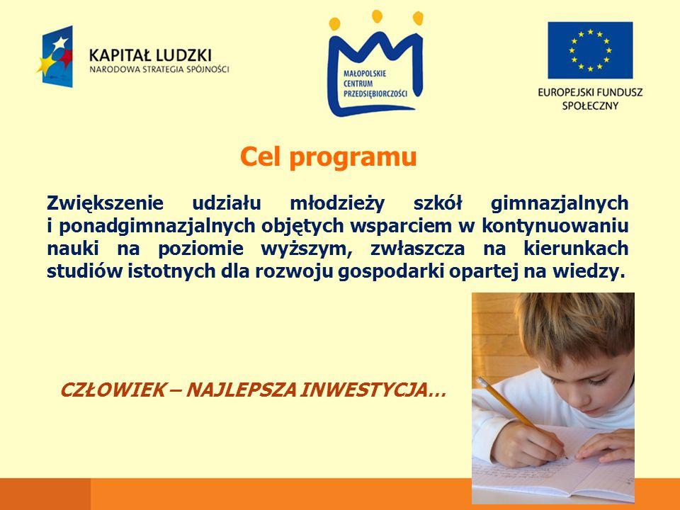 Cel programu Zwiększenie udziału młodzieży szkół gimnazjalnych i ponadgimnazjalnych objętych wsparciem w kontynuowaniu nauki na poziomie wyższym, zwła