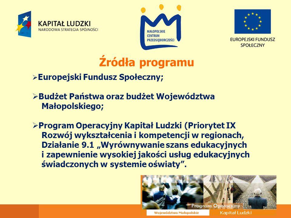 Źródła programu  Europejski Fundusz Społeczny;  Budżet Państwa oraz budżet Województwa Małopolskiego;  Program Operacyjny Kapitał Ludzki (Priorytet
