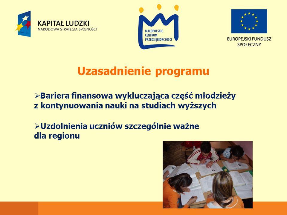 Uzasadnienie programu  Bariera finansowa wykluczająca część młodzieży z kontynuowania nauki na studiach wyższych  Uzdolnienia uczniów szczególnie wa