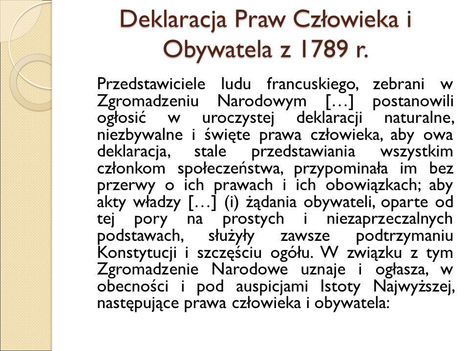 Deklaracja Praw Człowieka i Obywatela z 1789 r.