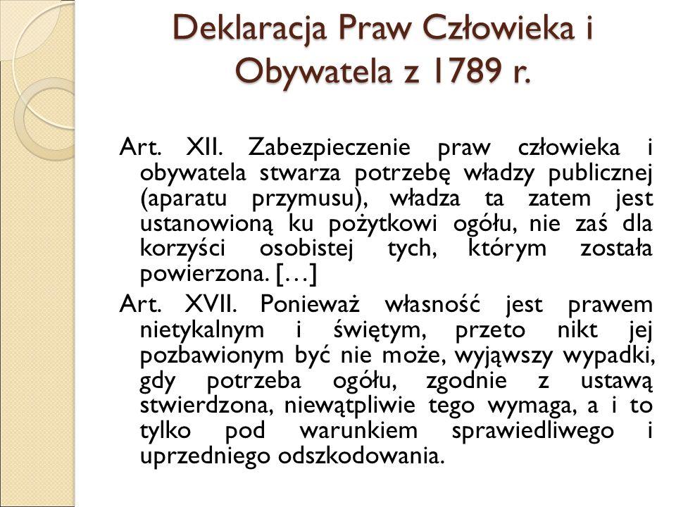 Deklaracja Praw Człowieka i Obywatela z 1789 r. Art.