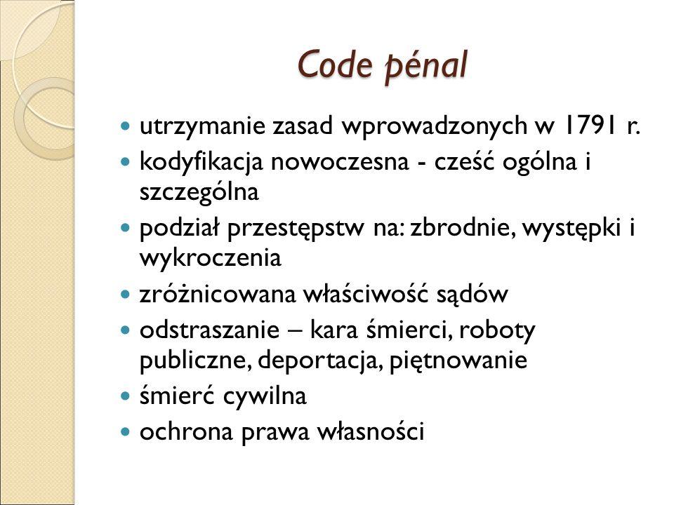 Code pénal utrzymanie zasad wprowadzonych w 1791 r.