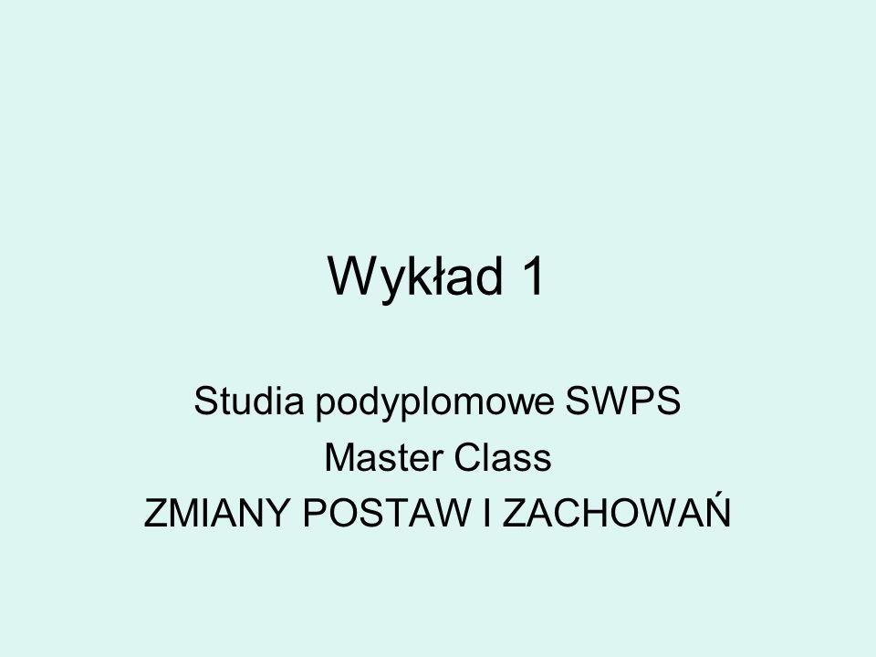 Wykład 1 Studia podyplomowe SWPS Master Class ZMIANY POSTAW I ZACHOWAŃ