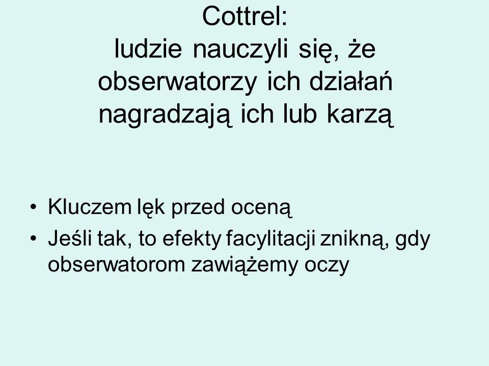 Cottrel: ludzie nauczyli się, że obserwatorzy ich działań nagradzają ich lub karzą Kluczem lęk przed oceną Jeśli tak, to efekty facylitacji znikną, gdy obserwatorom zawiążemy oczy