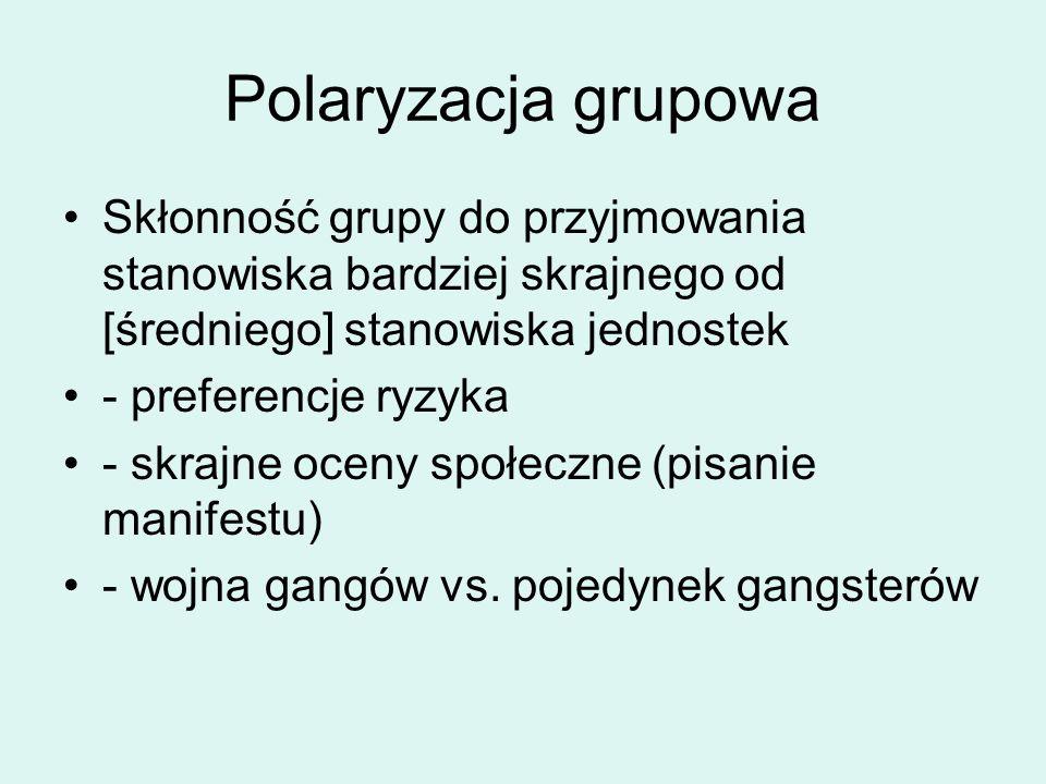 Polaryzacja grupowa Skłonność grupy do przyjmowania stanowiska bardziej skrajnego od [średniego] stanowiska jednostek - preferencje ryzyka - skrajne oceny społeczne (pisanie manifestu) - wojna gangów vs.