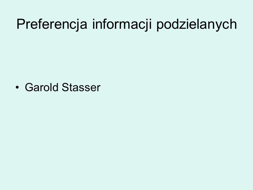 Garold Stasser Preferencja informacji podzielanych