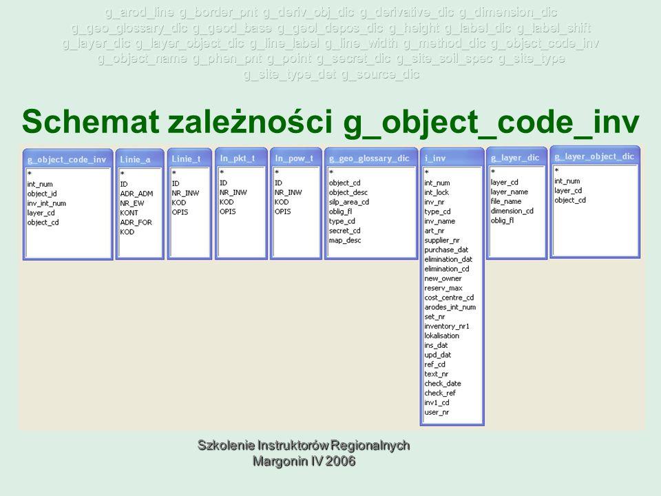 Szkolenie Instruktorów Regionalnych Margonin IV 2006 Schemat zależności g_object_code_inv