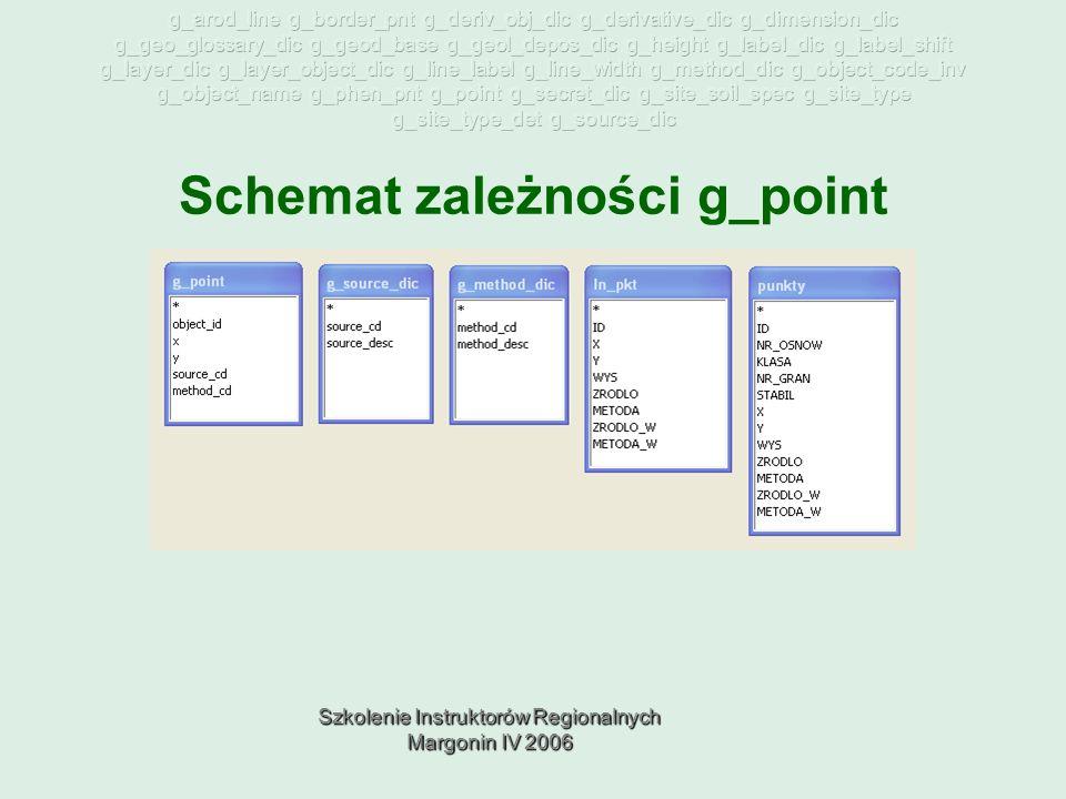 Szkolenie Instruktorów Regionalnych Margonin IV 2006 Schemat zależności g_point
