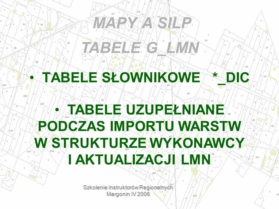 MAPY A SILP TABELE SŁOWNIKOWE *_DIC Szkolenie Instruktorów Regionalnych Margonin IV 2006 TABELE UZUPEŁNIANE PODCZAS IMPORTU WARSTW W STRUKTURZE WYKONAWCY I AKTUALIZACJI LMN TABELE G_LMN