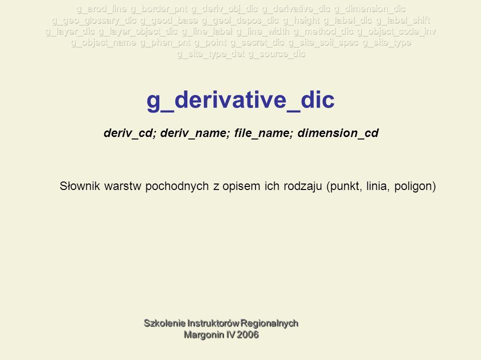 Szkolenie Instruktorów Regionalnych Margonin IV 2006 g_derivative_dic Słownik warstw pochodnych z opisem ich rodzaju (punkt, linia, poligon) deriv_cd; deriv_name; file_name; dimension_cd