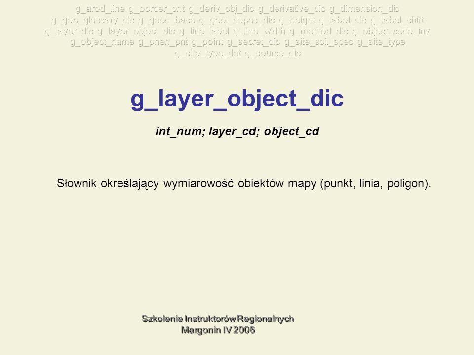 Szkolenie Instruktorów Regionalnych Margonin IV 2006 g_layer_object_dic Słownik określający wymiarowość obiektów mapy (punkt, linia, poligon).