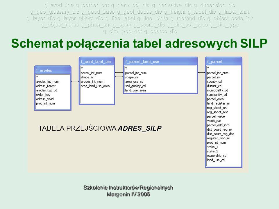 Szkolenie Instruktorów Regionalnych Margonin IV 2006 Schemat połączenia tabel adresowych SILP ADRES_SILP TABELA PRZEJŚCIOWA ADRES_SILP