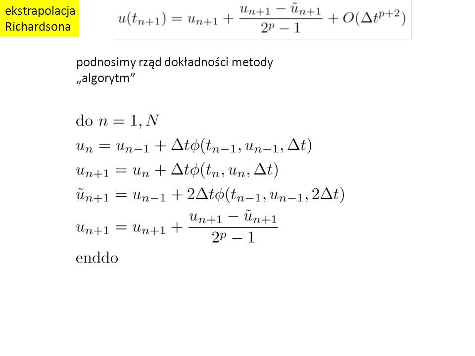 """ekstrapolacja Richardsona podnosimy rząd dokładności metody """"algorytm"""