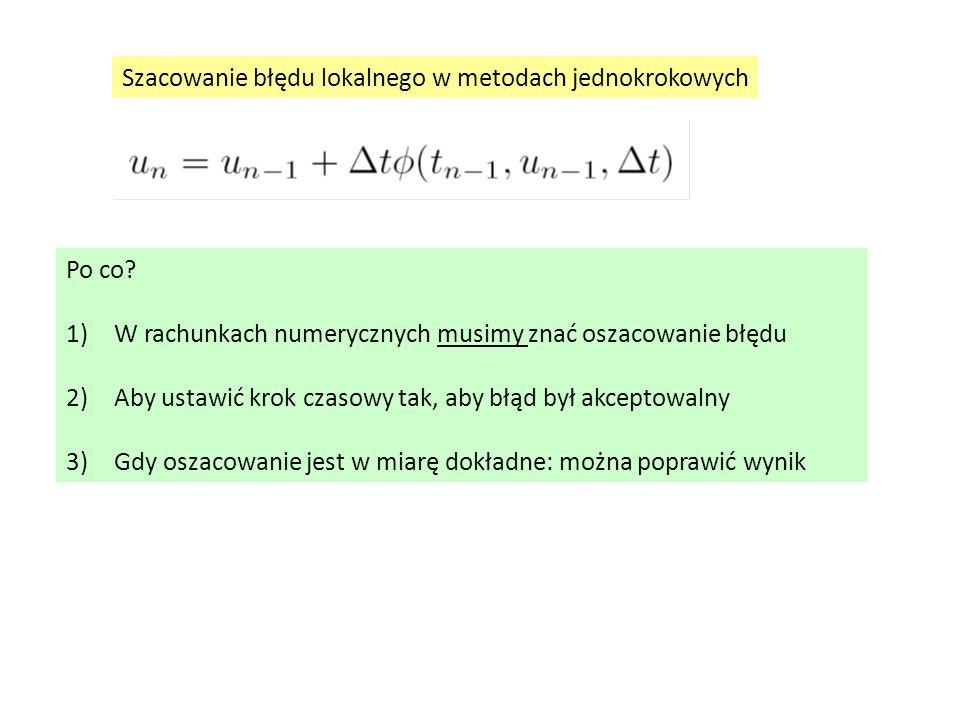 Szacowanie błędu lokalnego w metodach jednokrokowych Po co.