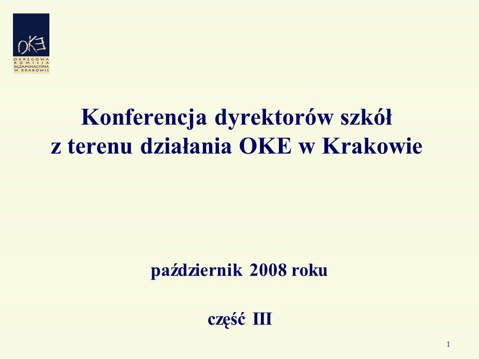 1 Konferencja dyrektorów szkół z terenu działania OKE w Krakowie październik 2008 roku część III