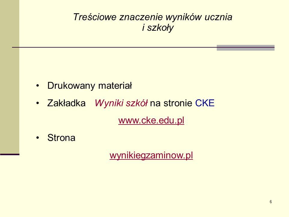 6 Treściowe znaczenie wyników ucznia i szkoły Drukowany materiał Zakładka Wyniki szkół na stronie CKE www.cke.edu.pl Strona wynikiegzaminow.pl