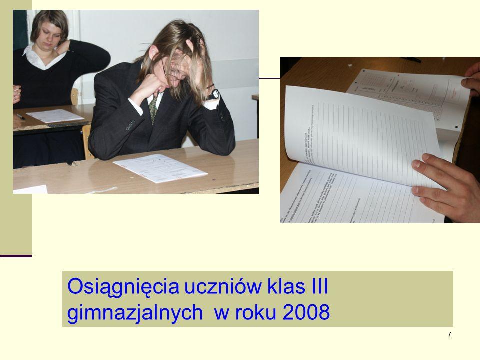 7 Osiągnięcia uczniów klas III gimnazjalnych w roku 2008