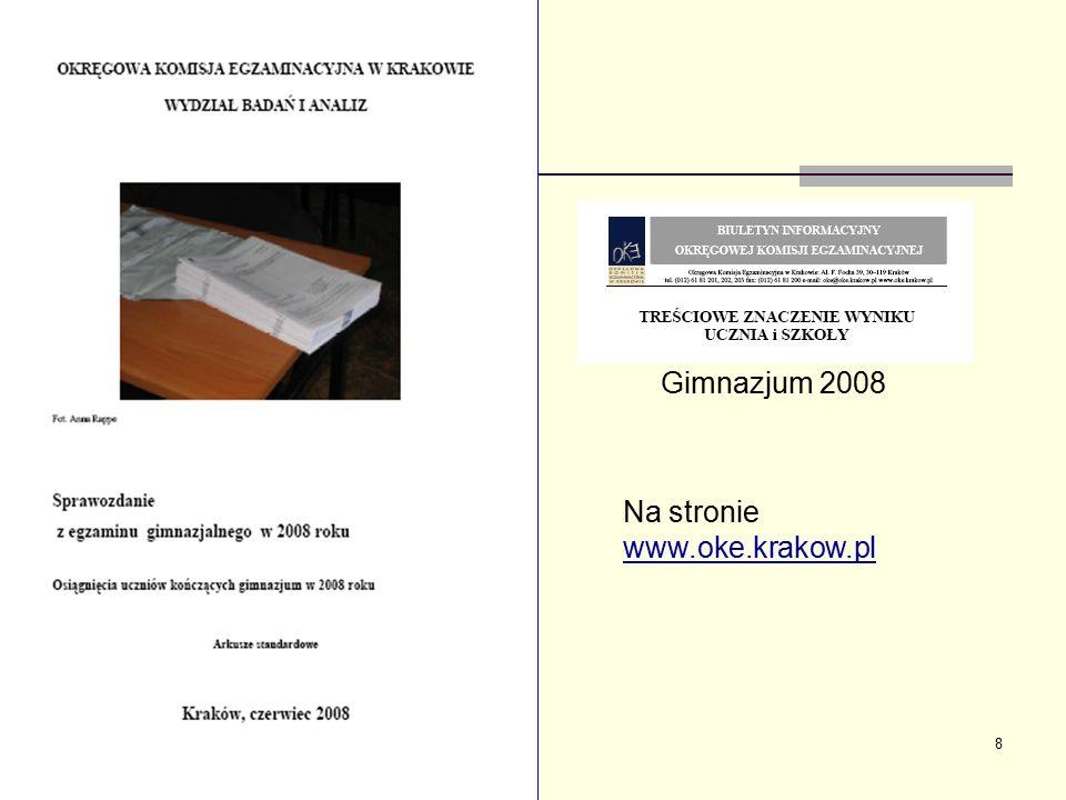 8 Na stronie www.oke.krakow.pl Gimnazjum 2008