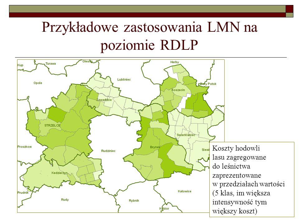 Przykładowe zastosowania LMN na poziomie RDLP Koszty hodowli lasu zagregowane do leśnictwa zaprezentowane w przedziałach wartości (5 klas, im większa