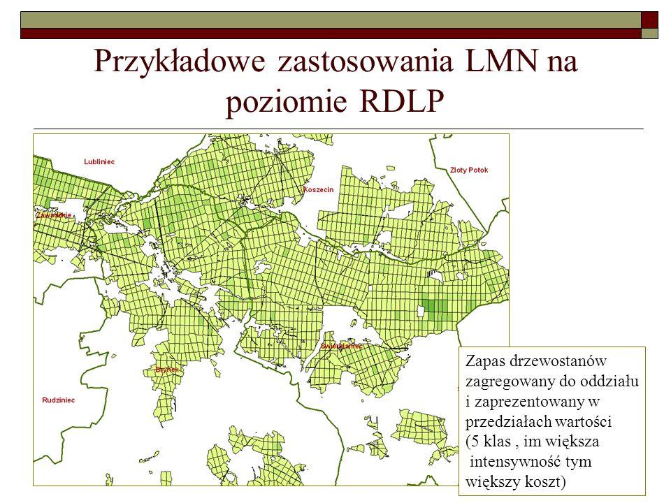Przykładowe zastosowania LMN na poziomie RDLP Zapas drzewostanów zagregowany do oddziału i zaprezentowany w przedziałach wartości (5 klas, im większa