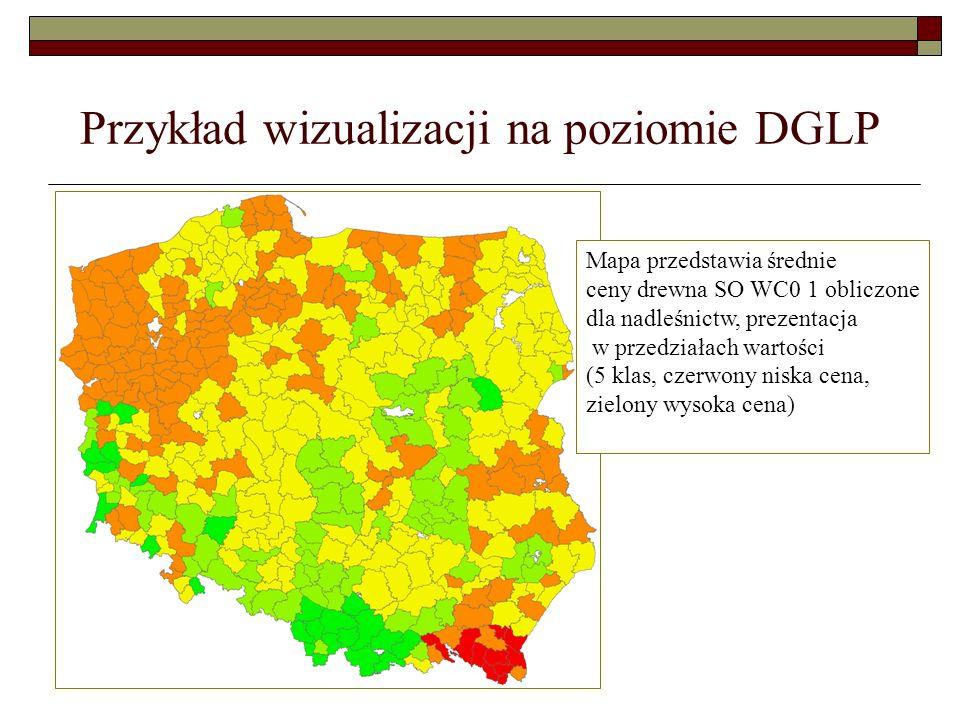 Przykład wizualizacji na poziomie DGLP Mapa przedstawia średnie ceny drewna SO WC0 1 obliczone dla nadleśnictw, prezentacja w przedziałach wartości (5