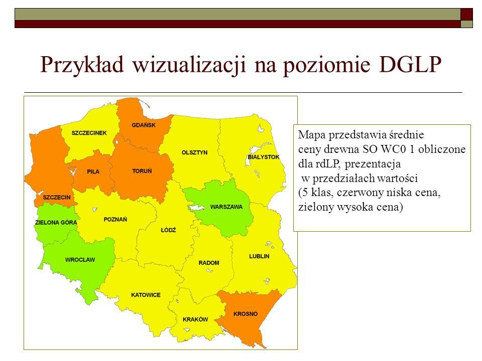 Przykład wizualizacji na poziomie DGLP Mapa przedstawia średnie ceny drewna SO WC0 1 obliczone dla rdLP, prezentacja w przedziałach wartości (5 klas,