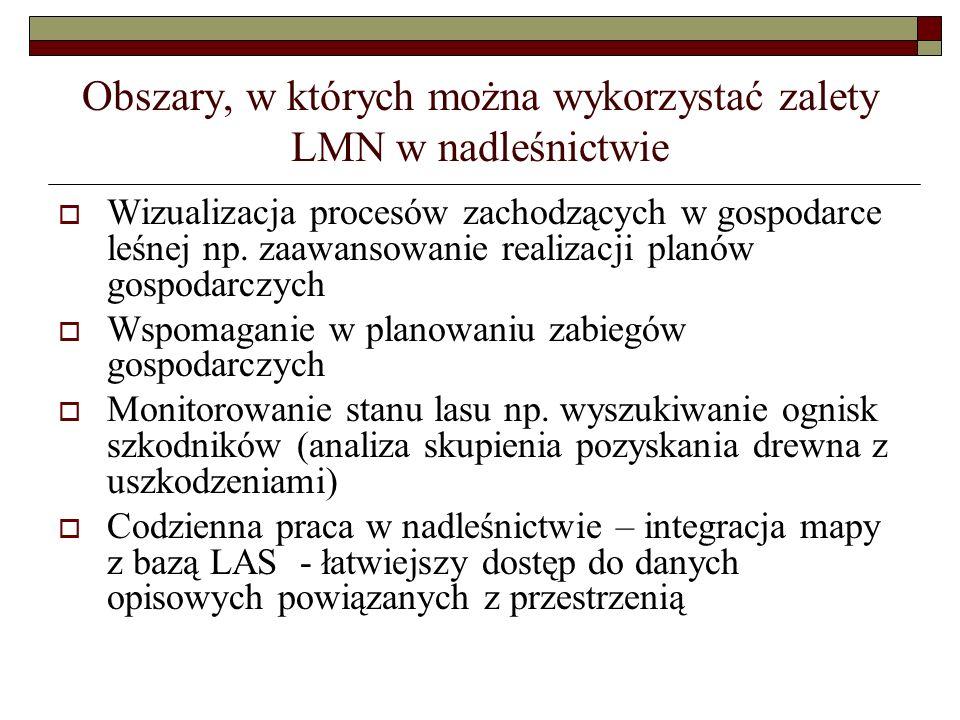 Obszary, w których można wykorzystać zalety LMN w nadleśnictwie  Wizualizacja procesów zachodzących w gospodarce leśnej np. zaawansowanie realizacji