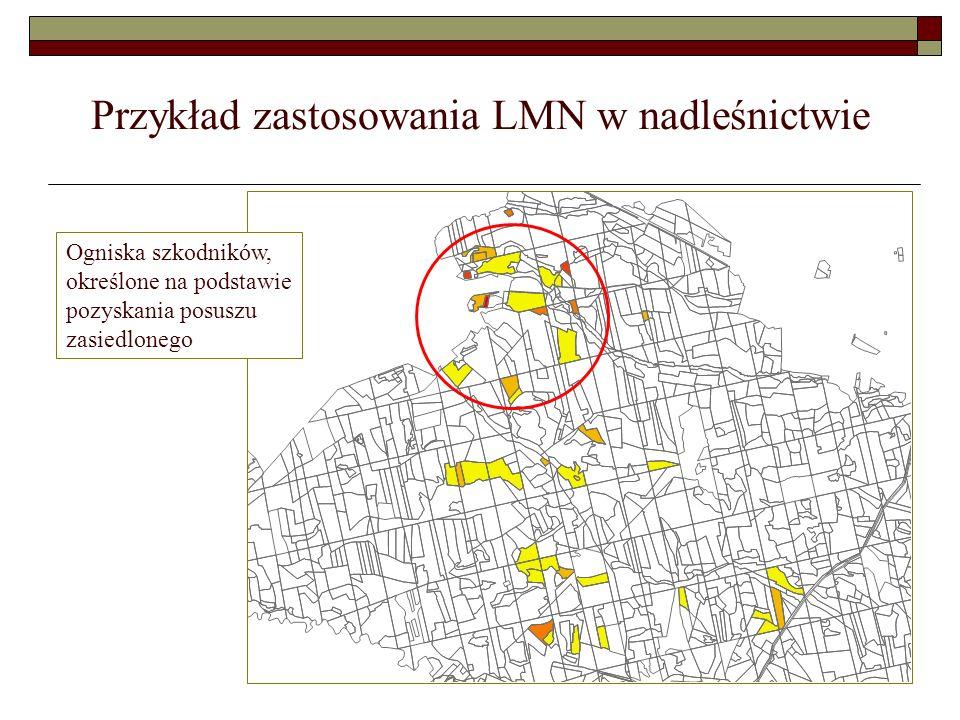 Zastosowanie LMN i GPS w opryskach lasu Pole zabiegowe pomierzone za pomocą odbiornika GPS, widać zgodność granic pola zabiegowego z warstwą wydzieleń.