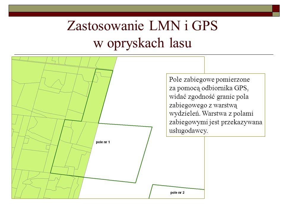 Zastosowanie LMN i GPS w opryskach lasu Pole zabiegowe pomierzone za pomocą odbiornika GPS, widać zgodność granic pola zabiegowego z warstwą wydzieleń