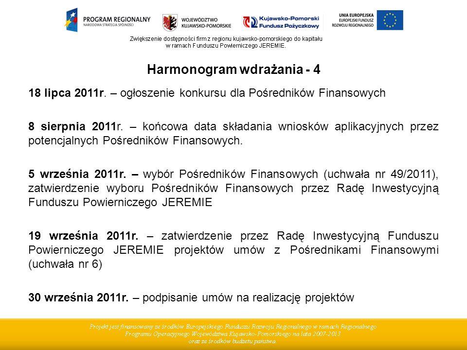 Harmonogram wdrażania - 4 18 lipca 2011r. – ogłoszenie konkursu dla Pośredników Finansowych 8 sierpnia 2011r. – końcowa data składania wniosków aplika