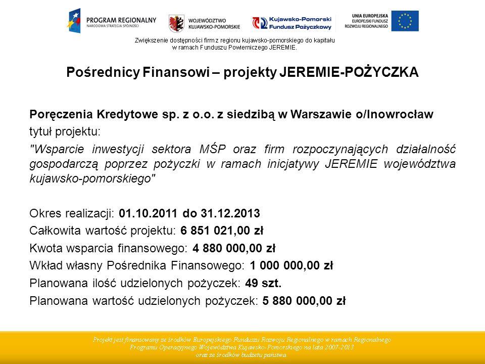Pośrednicy Finansowi – projekty JEREMIE-POŻYCZKA Poręczenia Kredytowe sp. z o.o. z siedzibą w Warszawie o/Inowrocław tytuł projektu: