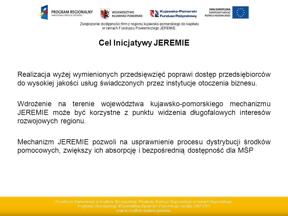 Cel Inicjatywy JEREMIE Realizacja wyżej wymienionych przedsięwzięć poprawi dostęp przedsiębiorców do wysokiej jakości usług świadczonych przez instytucje otoczenia biznesu.