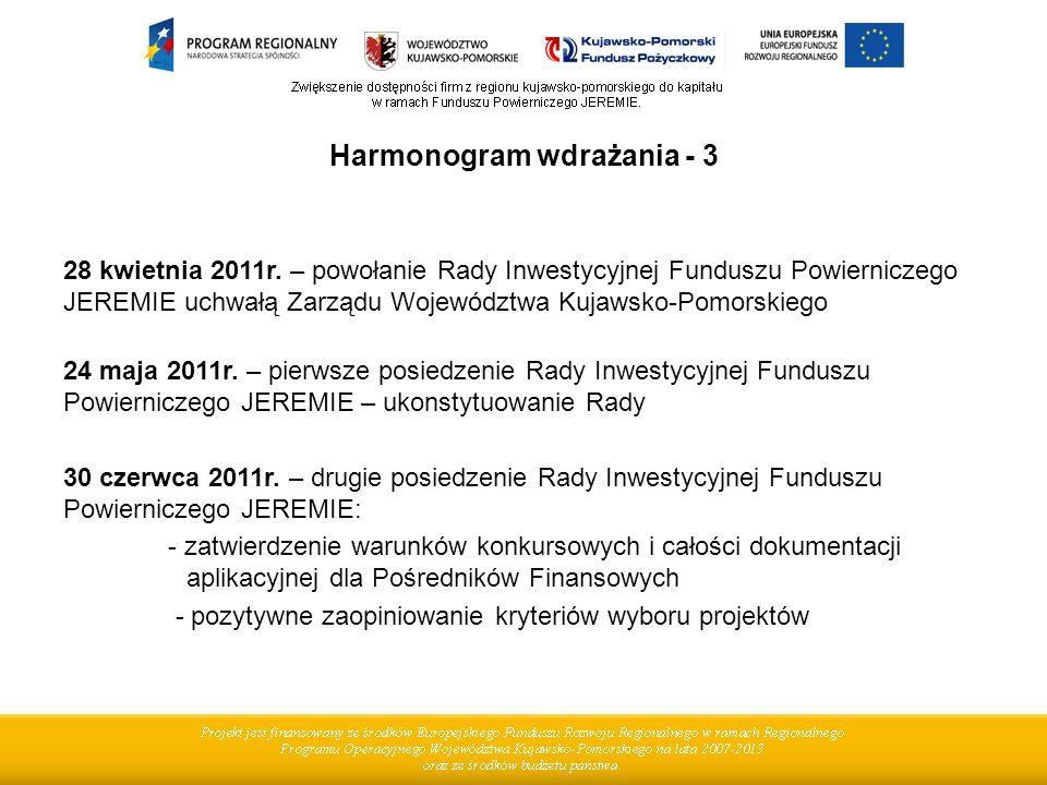 Harmonogram wdrażania - 3 28 kwietnia 2011r. – powołanie Rady Inwestycyjnej Funduszu Powierniczego JEREMIE uchwałą Zarządu Województwa Kujawsko-Pomors