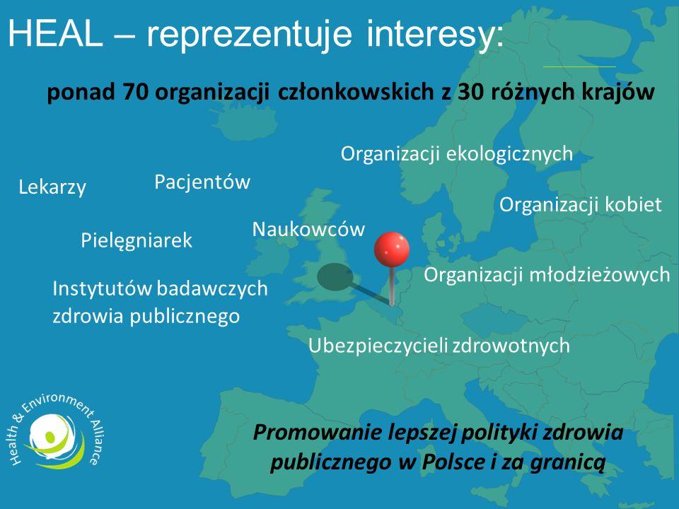 ponad 70 organizacji członkowskich z 30 różnych krajów Promowanie lepszej polityki zdrowia publicznego w Polsce i za granicą Lekarzy Pielęgniarek Pacjentów Instytutów badawczych zdrowia publicznego Organizacji kobiet Organizacji ekologicznych Organizacji młodzieżowych Naukowców Ubezpieczycieli zdrowotnych HEAL – reprezentuje interesy: