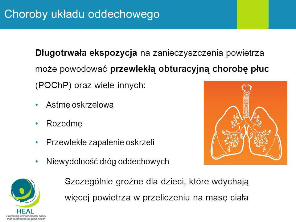 Choroby układu oddechowego Długotrwała ekspozycja na zanieczyszczenia powietrza może powodować przewlekłą obturacyjną chorobę płuc (POChP) oraz wiele innych: Astmę oskrzelową Rozedmę Przewlekłe zapalenie oskrzeli Niewydolność dróg oddechowych Szczególnie groźne dla dzieci, które wdychają więcej powietrza w przeliczeniu na masę ciała