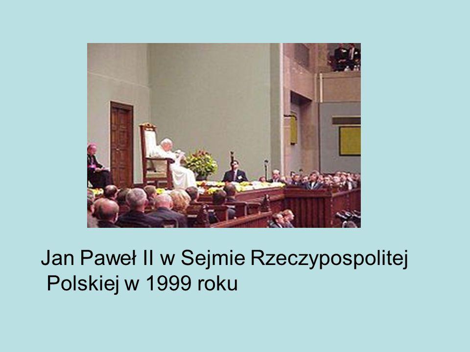 Jan Paweł II w Sejmie Rzeczypospolitej Polskiej w 1999 roku