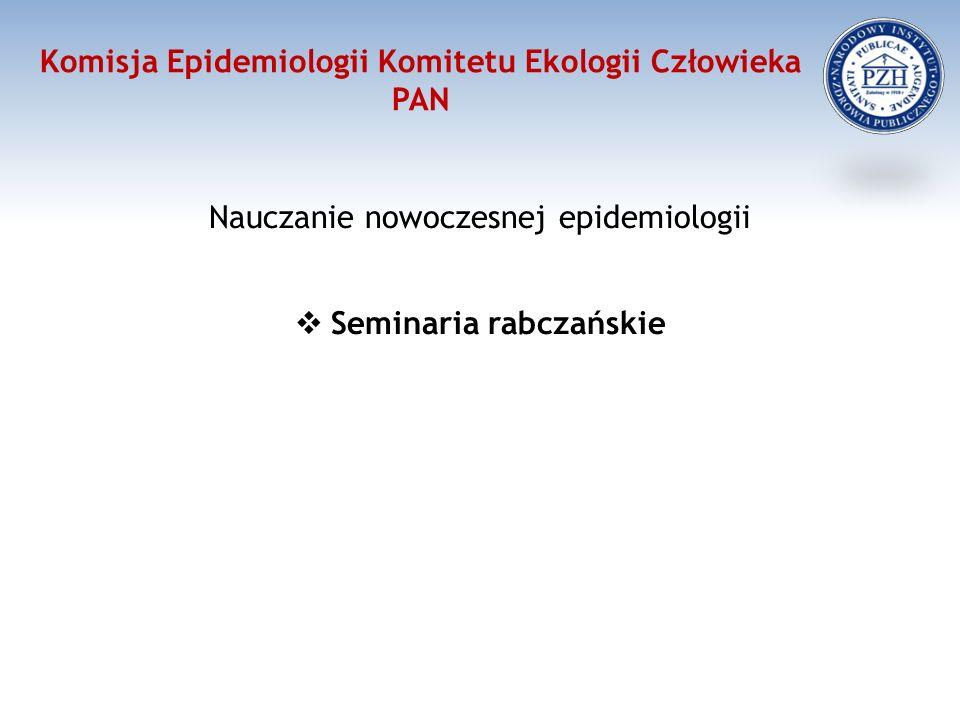 Komisja Epidemiologii Komitetu Ekologii Człowieka PAN Nauczanie nowoczesnej epidemiologii  Seminaria rabczańskie