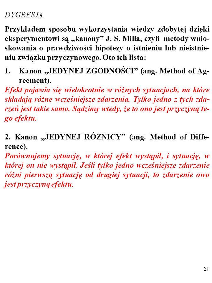 """20 DYGRESJA Przykładem sposobu wykorzystania wiedzy zdobytej dzięki eksperymentowi są """"kanony J."""