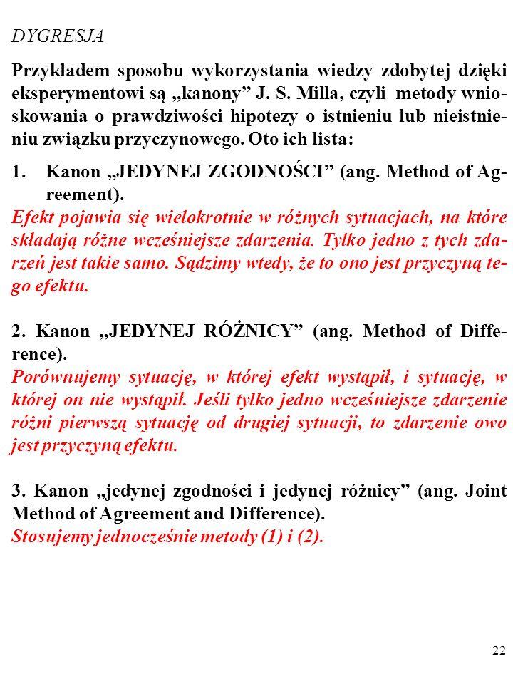 """21 DYGRESJA Przykładem sposobu wykorzystania wiedzy zdobytej dzięki eksperymentowi są """"kanony J."""
