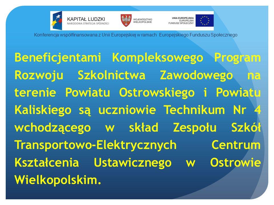 Beneficjentami Kompleksowego Program Rozwoju Szkolnictwa Zawodowego na terenie Powiatu Ostrowskiego i Powiatu Kaliskiego są uczniowie Technikum Nr 4 wchodzącego w skład Zespołu Szkół Transportowo-Elektrycznych Centrum Kształcenia Ustawicznego w Ostrowie Wielkopolskim.