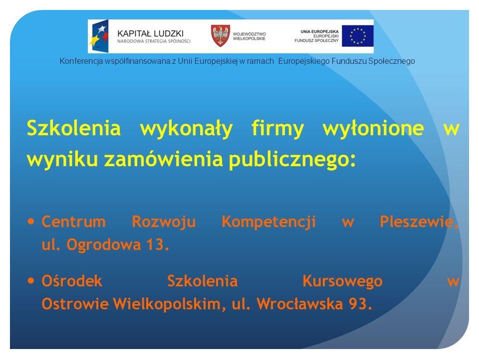 Szkolenia wykonały firmy wyłonione w wyniku zamówienia publicznego: Centrum Rozwoju Kompetencji w Pleszewie, ul.