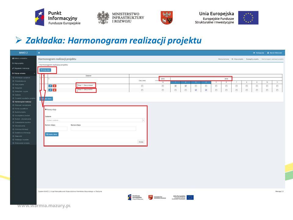  Zakładka: Harmonogram realizacji projektu