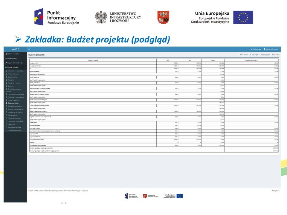  Zakładka: Budżet projektu (podgląd)